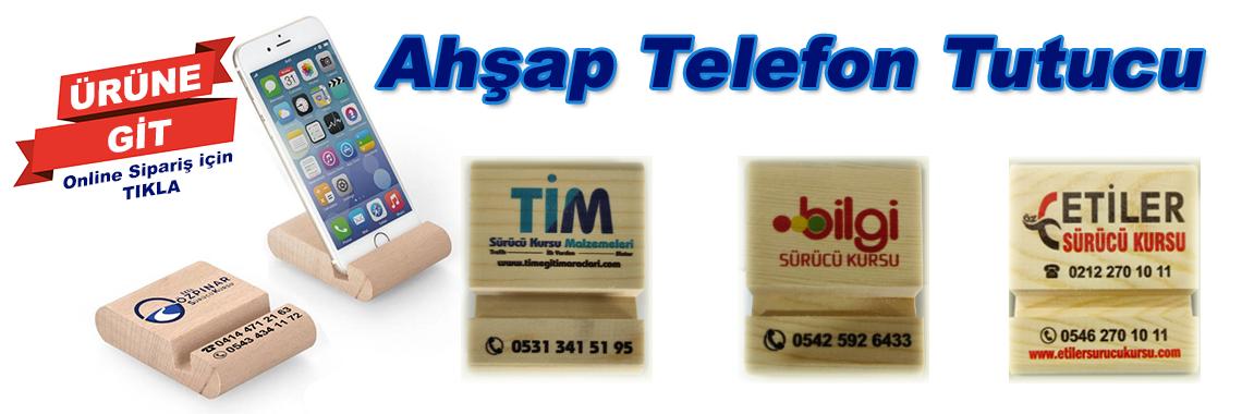 BASKILI AHŞAP TELEFON TUTUCU